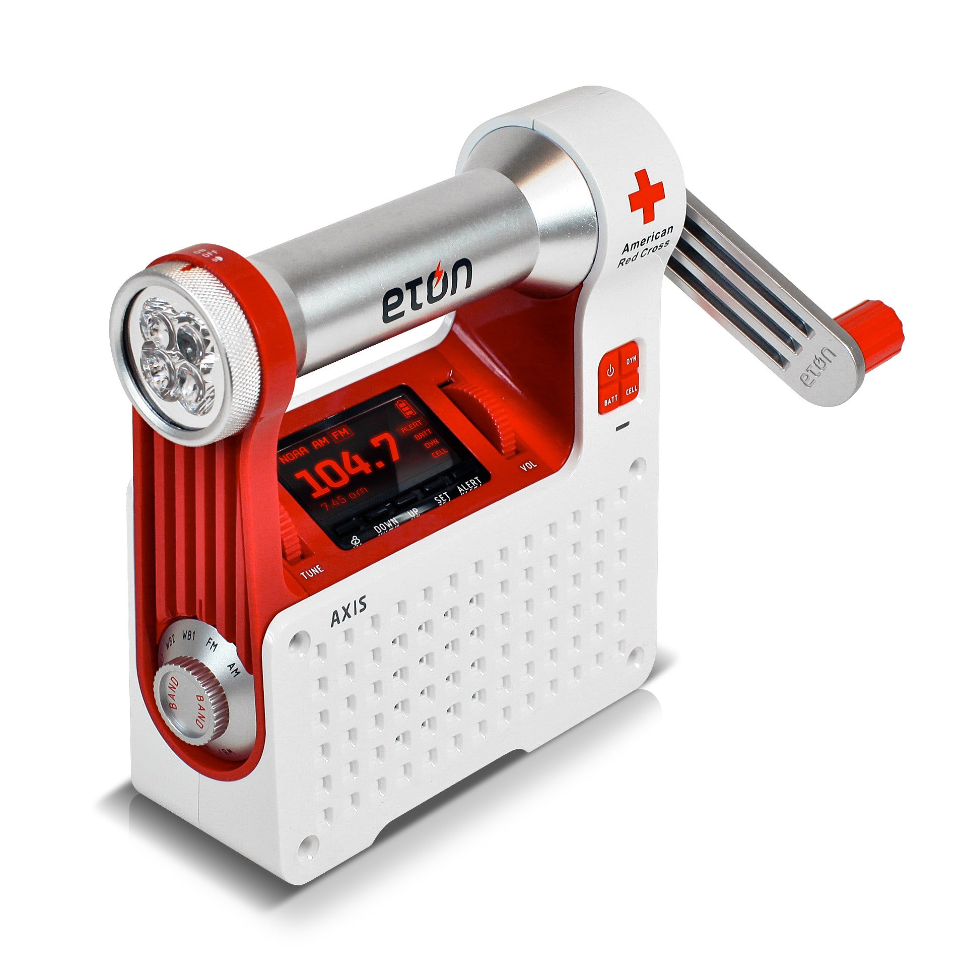 The American Red Cross Axis Self-Powered Safety Hub with Weather Radio and USB Cell Phone Charger, ARCPT300W