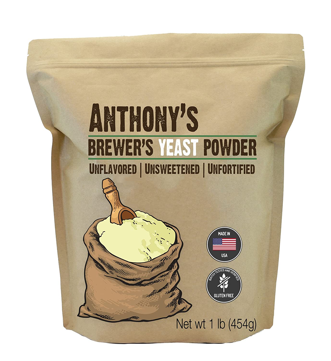 Anthony's Brewer's Yeast, 1 lb, gemacht in USA, Gluten Free, Unflavored and Unsweetened