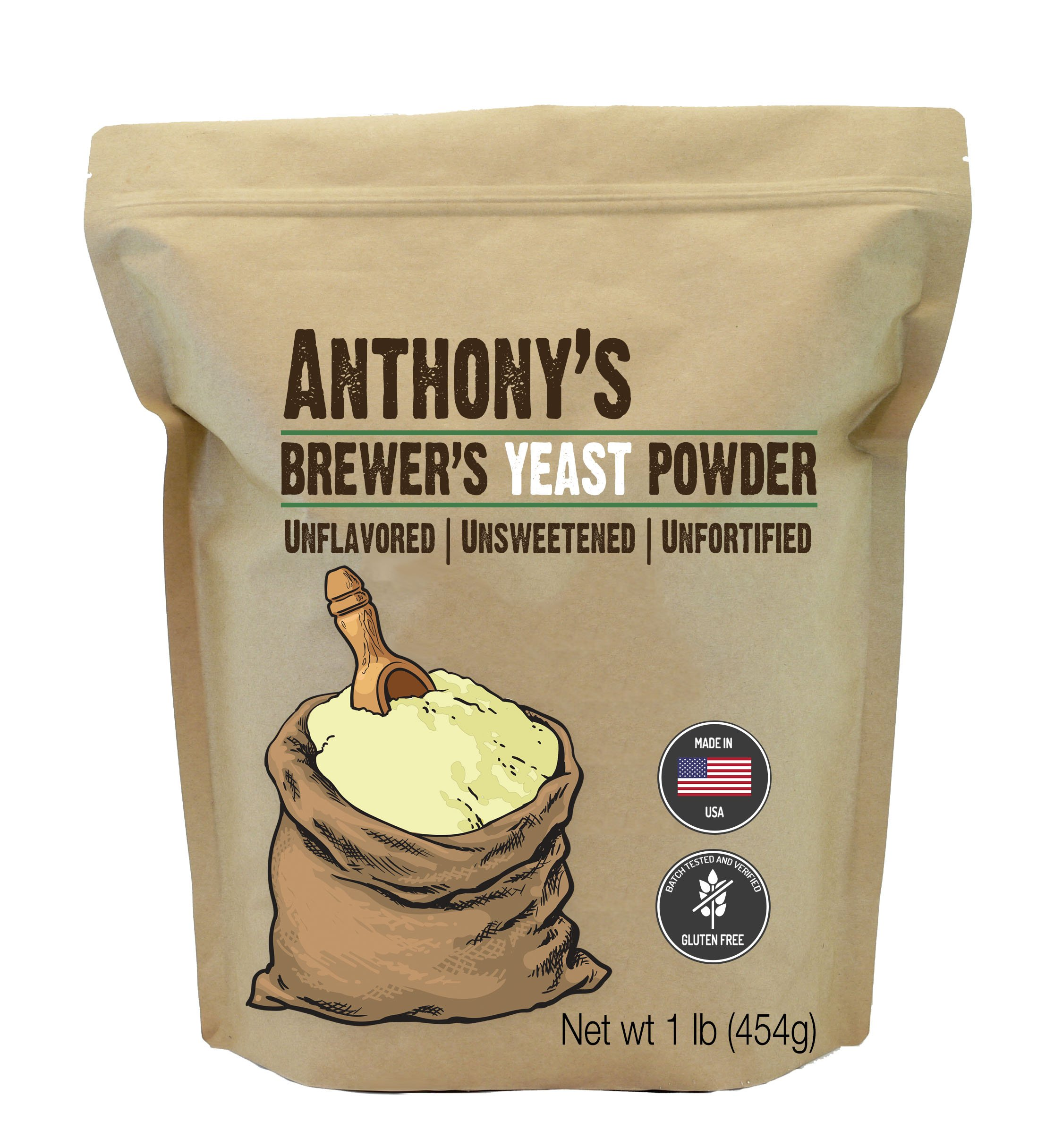 Anthony's Brewer's Yeast, 1 lb, Made in USA, Gluten Free, Unflavored and Unsweetened