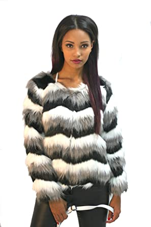 Dolce Cabo Black White Grey Chevron Faux Fur Jacket at Amazon ... f8a1af421