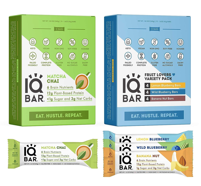 IQBAR Keto Protein Bar Bundle (24 Bars) - Vegan, Gluten-free, Dairy-free Low Carb Protein Bars - Matcha Chai (12 Bars) + Fruit Lovers Variety Keto Bars (12 Bars) - Meal Replacement Bar - Vegan Snacks