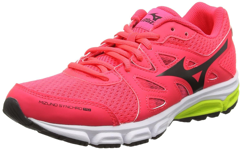 MizunoMizuno Synchro MD - Zapatillas de Running Mujer 41 EU Rosa (Diva Pink/Black/Safety Yellow)