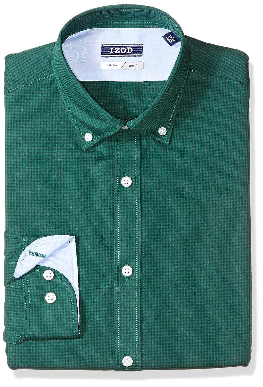Izod Mens Standard Dress Shirts Slim Fit Stretch Gingham 2301578