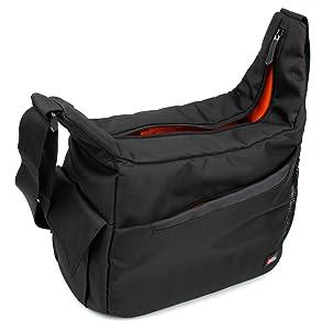 DURAGADGET Black & Orange 'Sling' Bag - Ideal for Storing Your Nursing | Home Visits Medical Supplies & Equipment - w/Adjustable Dividers (280 x 200 x 100 mm)