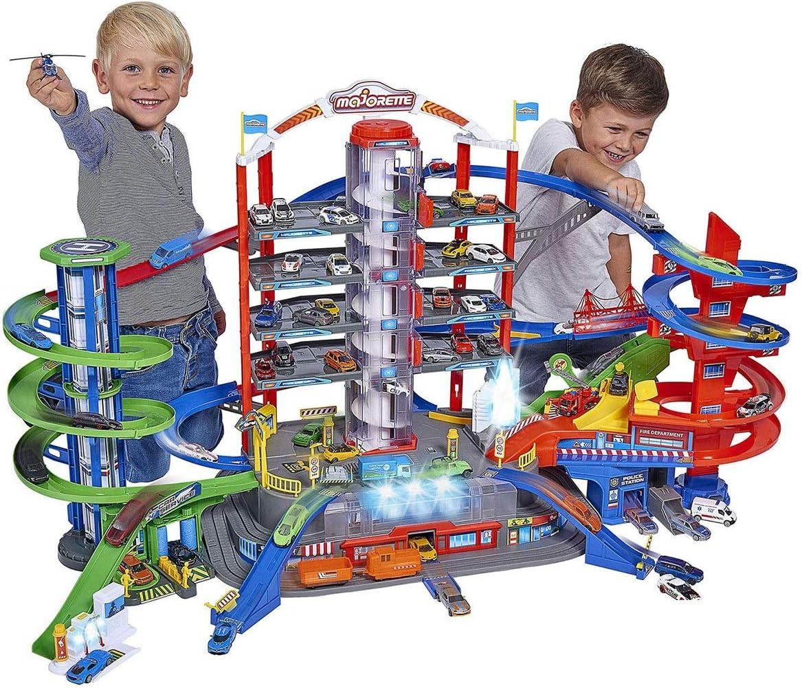 Majorette - Garaje Super City 7 Plantas, Incluye 6 Coches y Tren Motorizado con Luz y Sonido, para Niños a Partir de 5 Años - 128 x 78 x 73 cm