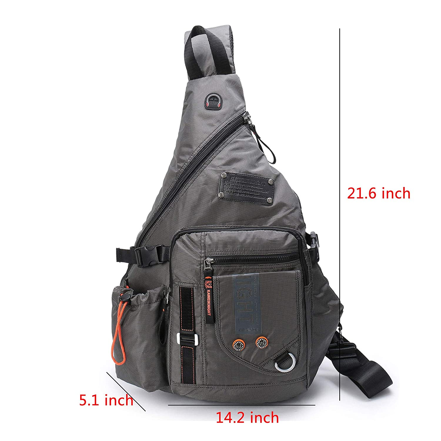 9a5224326a Amazon.com  DDDH Large Sling Bags Crossbody Backpack 14.1-Inch Chest  Daypack Travel Bag Book Bag for Men Women(Grey)  Computers   Accessories