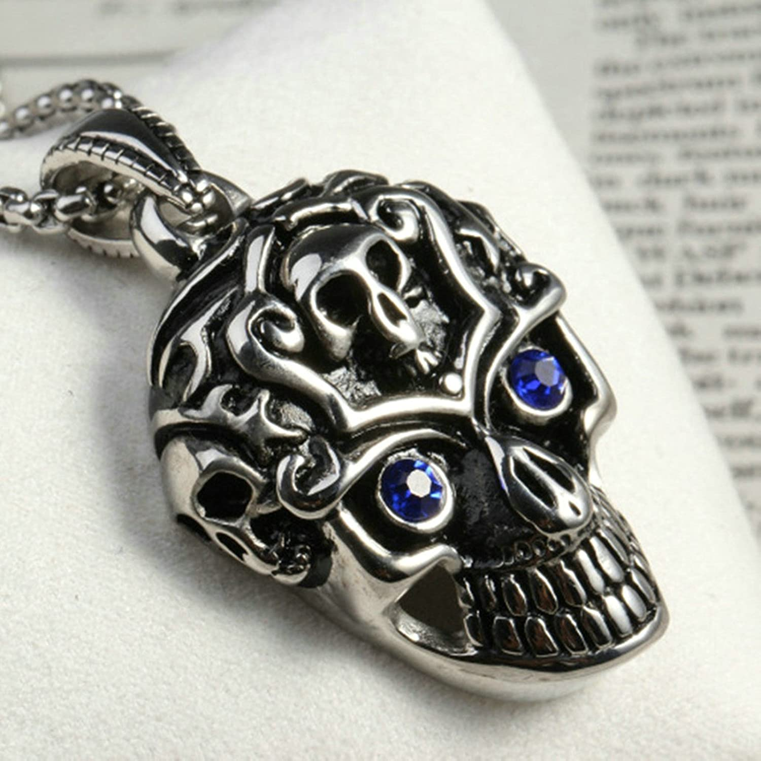 Gnzoe Jewelry Mens Stainless Steel Gothic Skull Biker Blue Eyes Necklace Pendant Silver