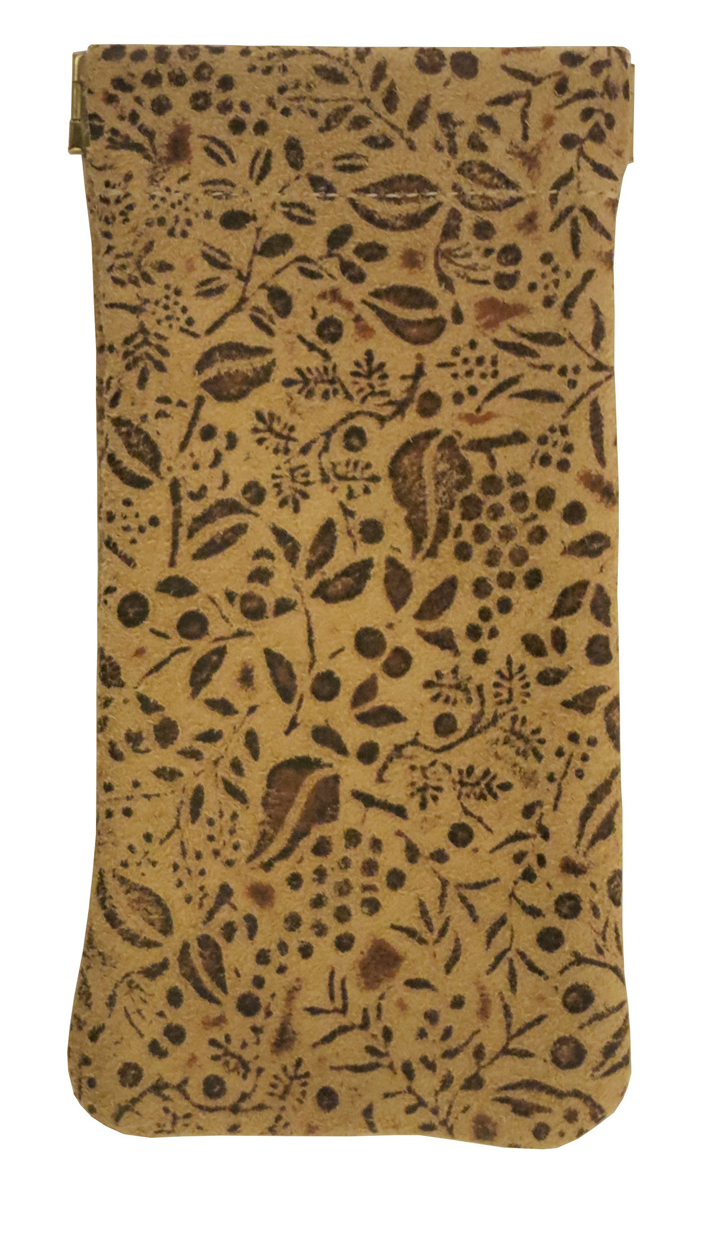 CTM Unisex Leather Eyeglass Holder and Case, Tan Floral