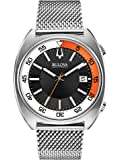 Bulova Accutron II Men's Quartz Watch with Black Dial Analogue Display and Silver Stainless Steel Bracelet 96B208