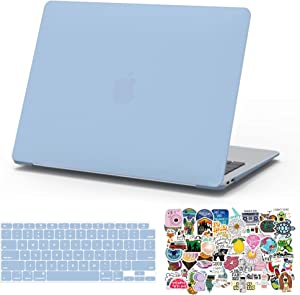 MacBook Air 13 Inch Case 2020 2019 2018 Release A2337 M1 A2179 A1932, G JGOO Slim Plastic Matte Hard Shell Case Cover & 70PCS Laptop Sticker & Keyboard Cover Compatible with Mac Air 13, Serenity Blue