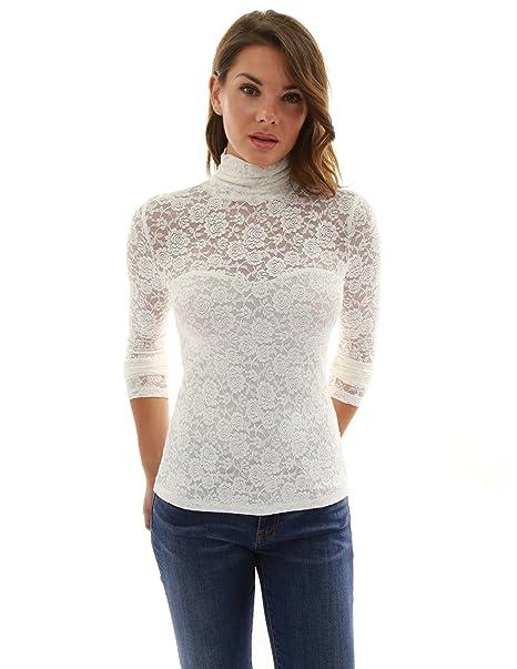 PattyBoutik Mujer blusa de encaje de cuello alto: Amazon.es: Ropa y accesorios