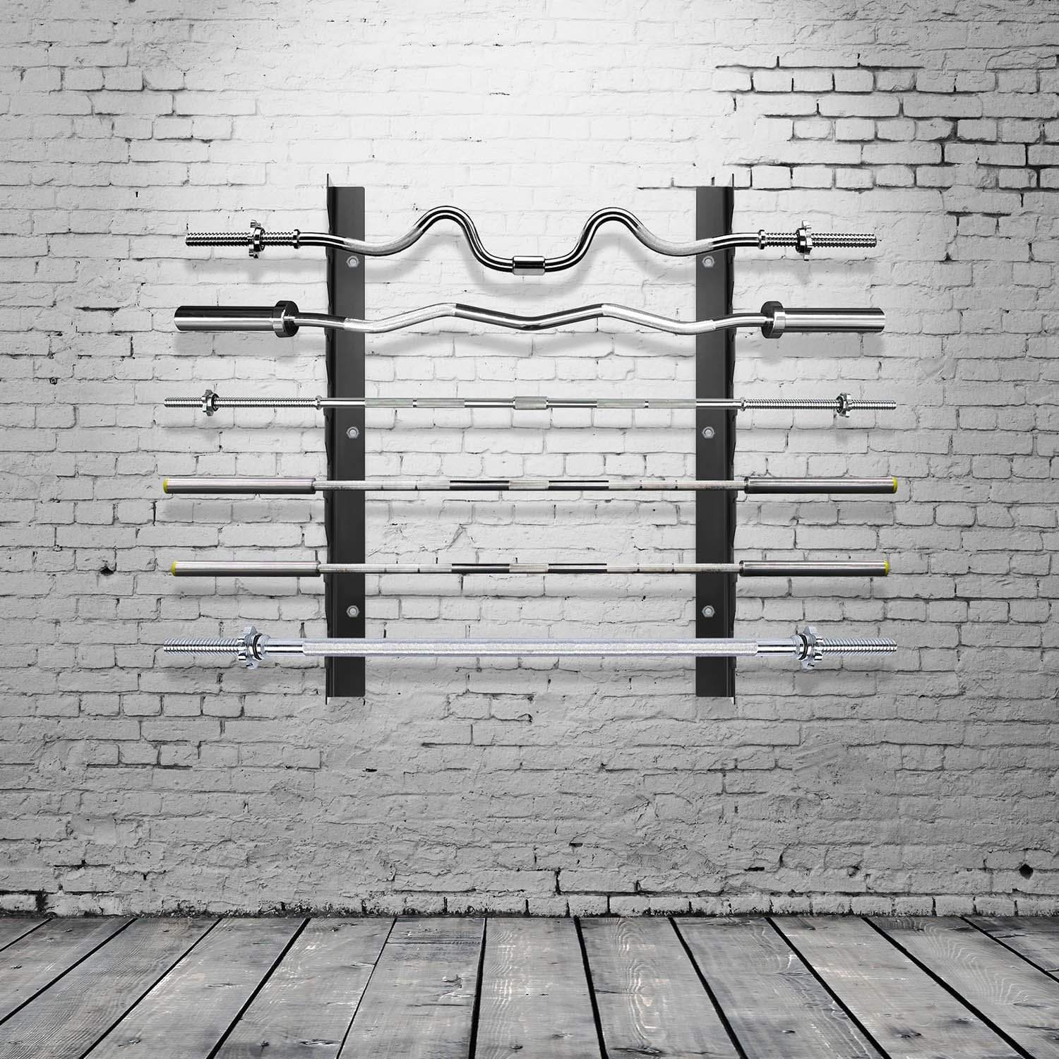 Ollieroo Olympic Barbell Rack Bar Storage, Horizontal Wall Mount Bar Plate Storage Rack, Holds 6 Barbells by Ollieroo