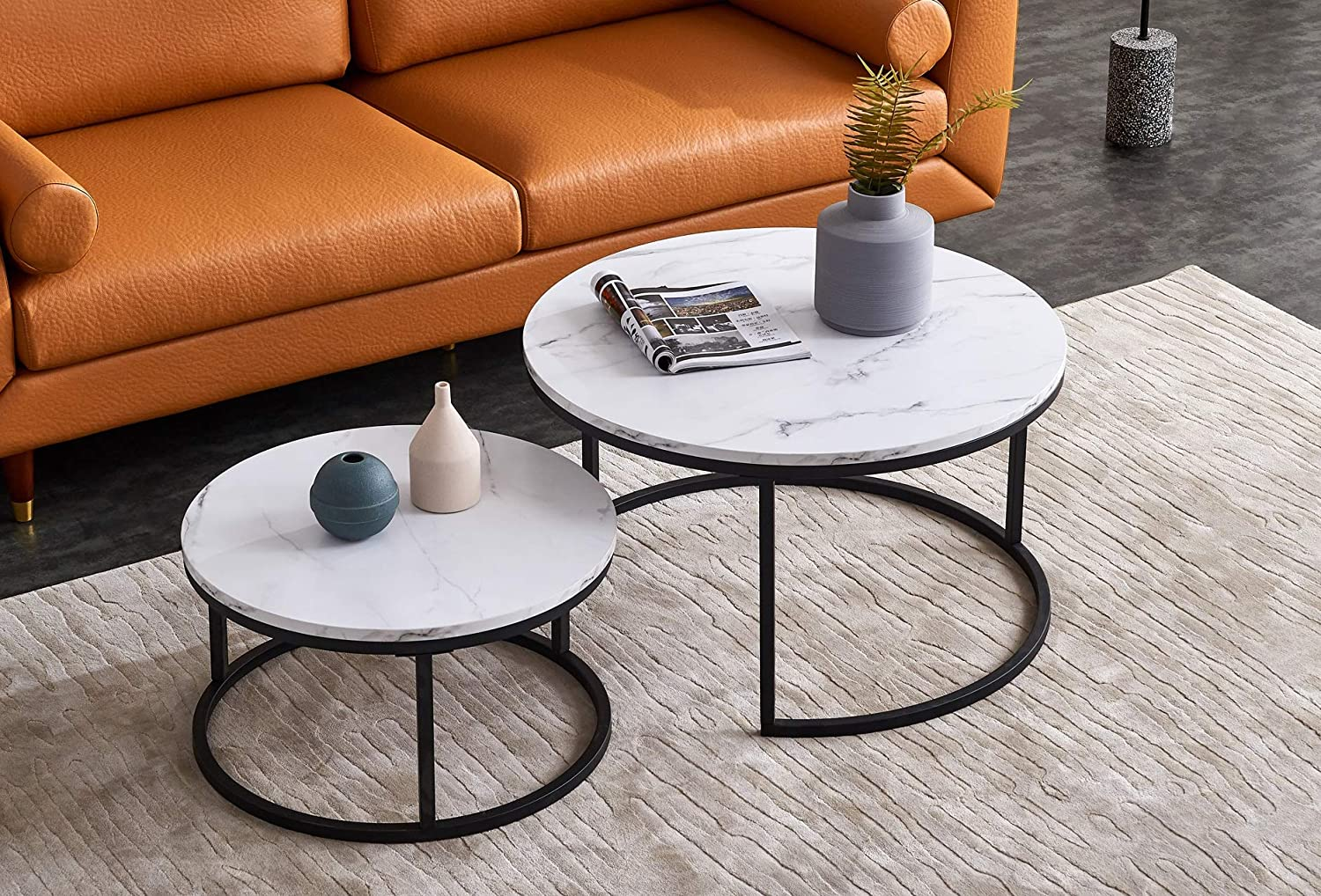 Amazon Com Knowlife Modern Coffee Table Set Of 2 Nesting Tables Small Round Table With Marble Texture For Small Space And Living Room 32 Kitchen Dining