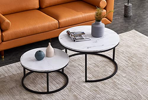 Knowlife Modern Coffee Table Set of 2 Nesting Tables Small Round Table