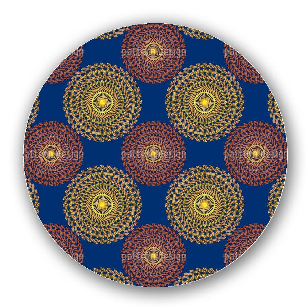 Uneekee Solar Circles On Blue Lazy Susan: Large, Dark Wooden Turntable Kitchen Storage