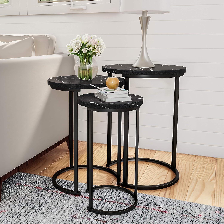 "Lavish Home Round Nesting Tables, Largest Dimensions: (Diameter) 17.75""x (H) 25"" Medium: (D) 15.75""x (H) 22.5"" Small: (D) 12""x (H) 20.25"", Black"