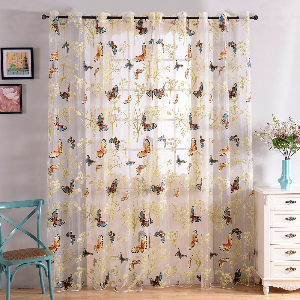 Superior Amazon.com: Top Finel Butterfly Voile Window Curtain Sheer Curtain Panels  For Living Room 54 Inch Width X 84 Inch Length,Grommets,Single Panel: Home  U0026 ...