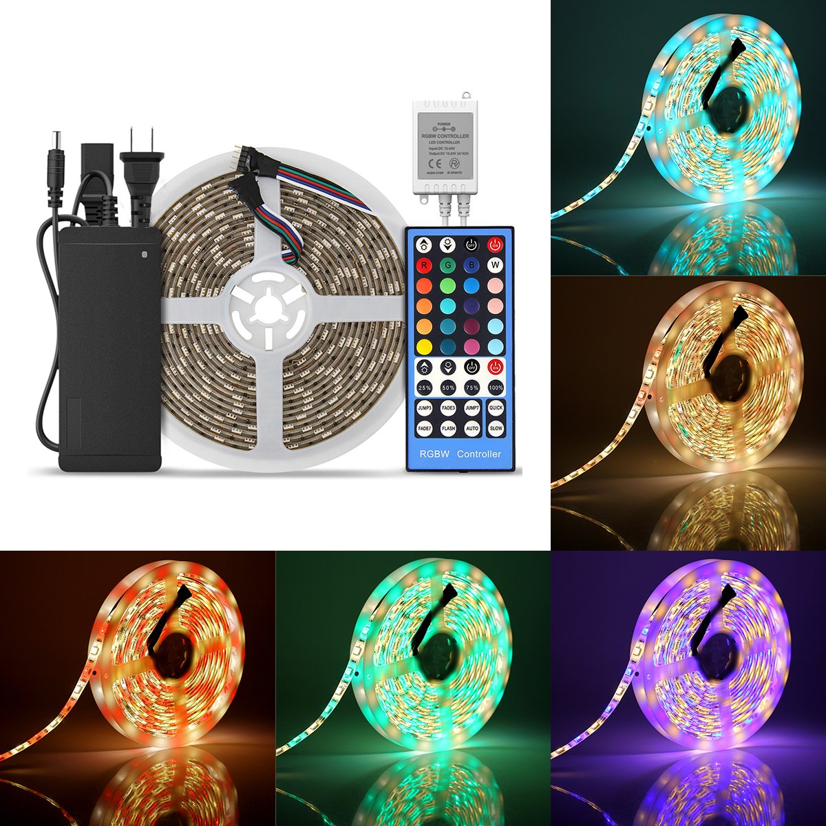 SUPERNIGHT LED Strip Waterproof, 16.4ft 300LEDS RGBW Rope Lighting, RGB + Warm White Mixed Color Dimmable Tape with 5 pin Remote Controller and 12V Power Adapter for Room, TV Backlight