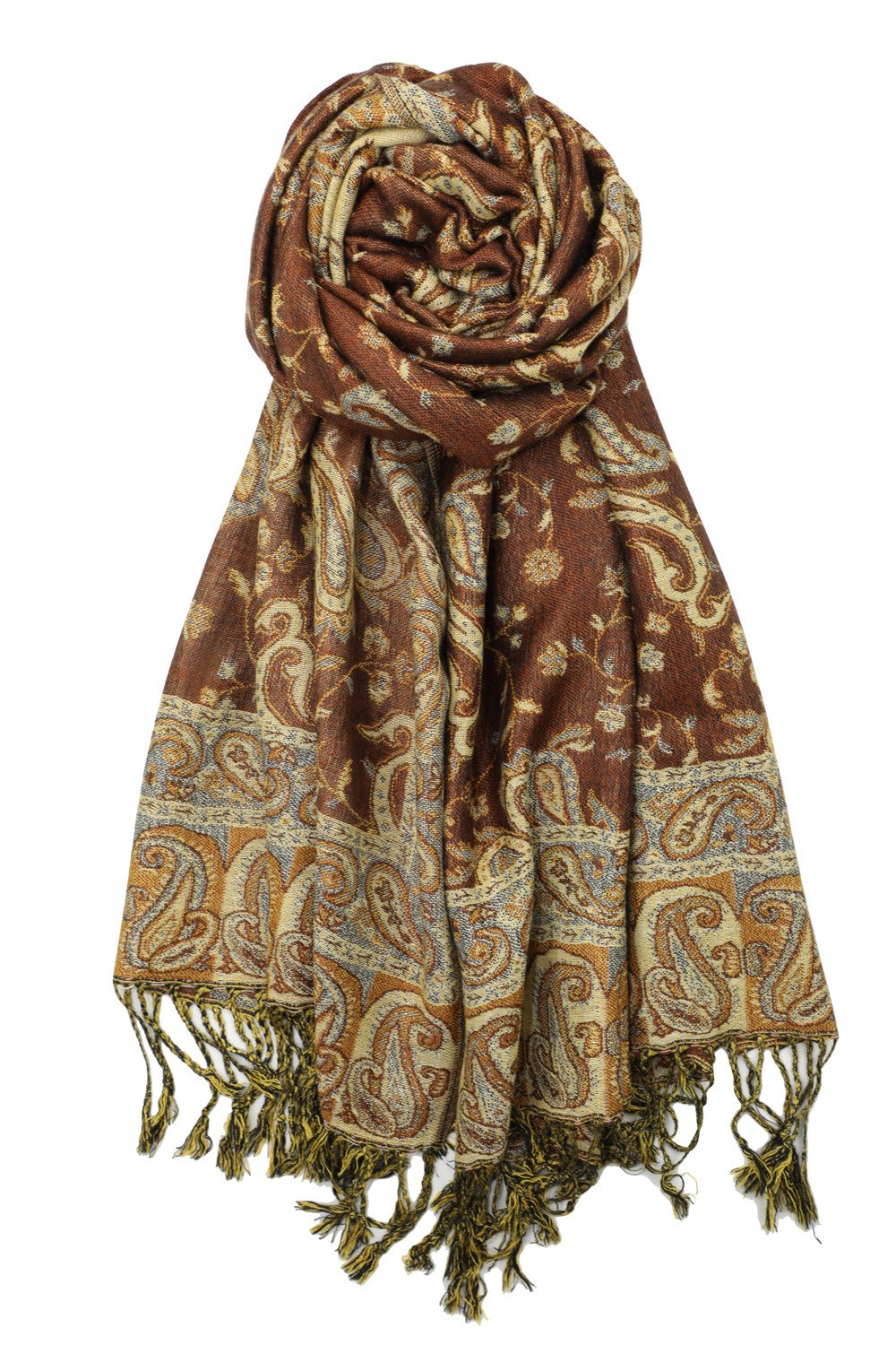 Achillea Soft Silky Reversible Paisley Pashmina Shawl Wrap Scarf w/Fringes 80'' x 28'' (Brown)
