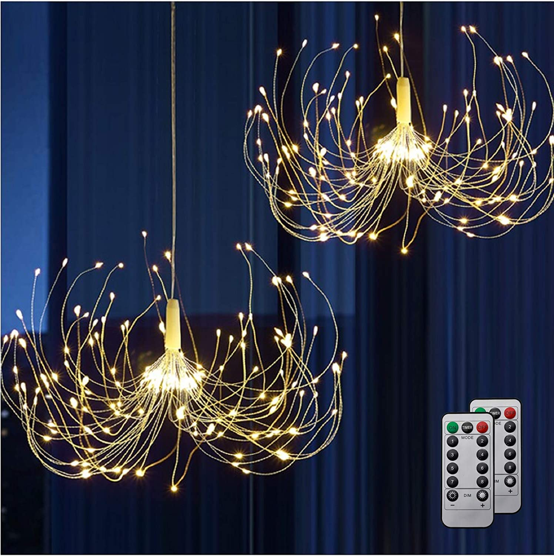 HEJOR Battery Chandelier 2 Pack, Firework Lights Starburst Light 180 LEDs   Battery Operated Fairy Light   Hanging Decorative Lights for Party Garden Patio Bedroom,DIY Indoor/Outdoor Using