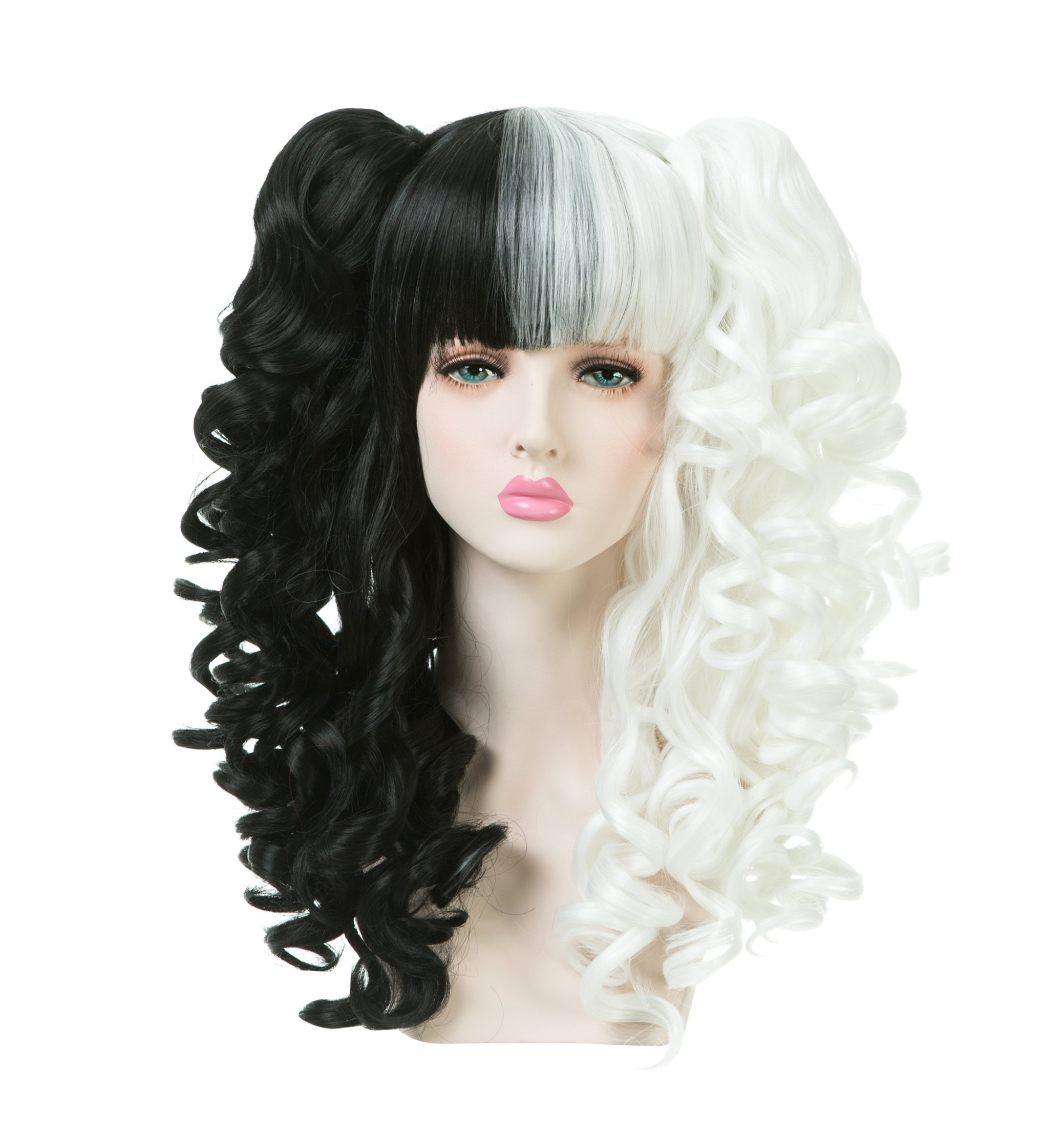 Long Black White Curly Wavy Ponytail Hair Wig Costume