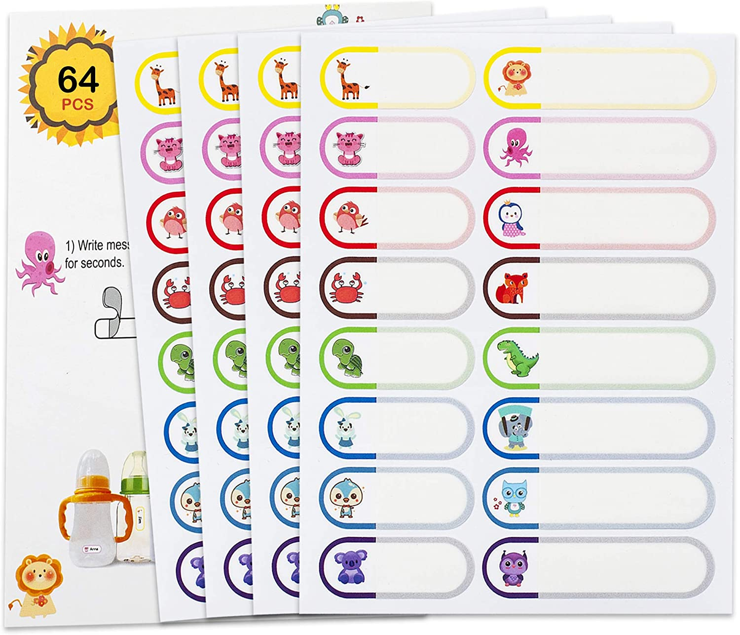 64pcs Baby Bottle Labels for Daycare, Self-Laminating Waterproof Write-On Name Labels, Child Care Labels, Kids Name Tag Label Stickers for School Supply Water Bottle, Freezer Dishwasher Safe
