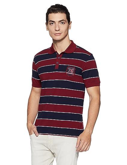 9653155b Jockey Men's Striped Regular Fit Cotton Polo (US93-0103-PB-WH_Prussion Blue