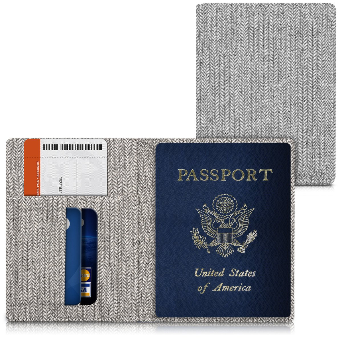 kwmobile passport case ID case card box credit cards portfolio fabric etui in light grey with Canvas