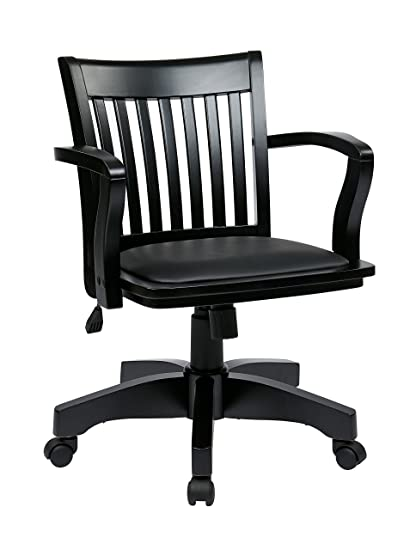 Exceptionnel Office Star Wood Bankers Desk Chair With Vinyl Seat