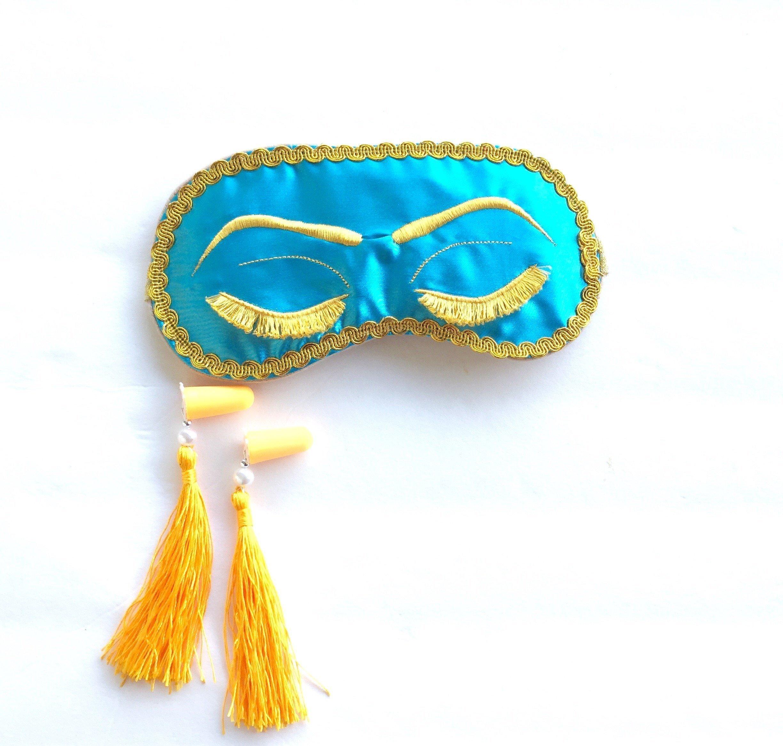 Handmade Breakfast at Tiffany's Eyelashes Sleep Mask Tassel Ear Plugs Set Bachelorette Party Mask. by ShushBear
