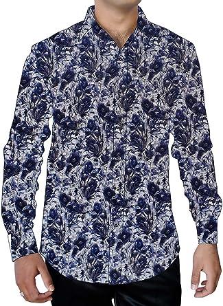 INMONARCH Mens Natural Printed Shirt Paisley Pattern Button Down ST17004