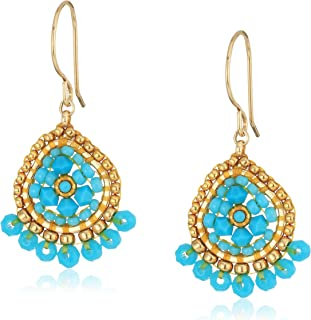 product image for Miguel Ases Mini Teardrop Fringed Rondelle Turquoise Drop Earrings