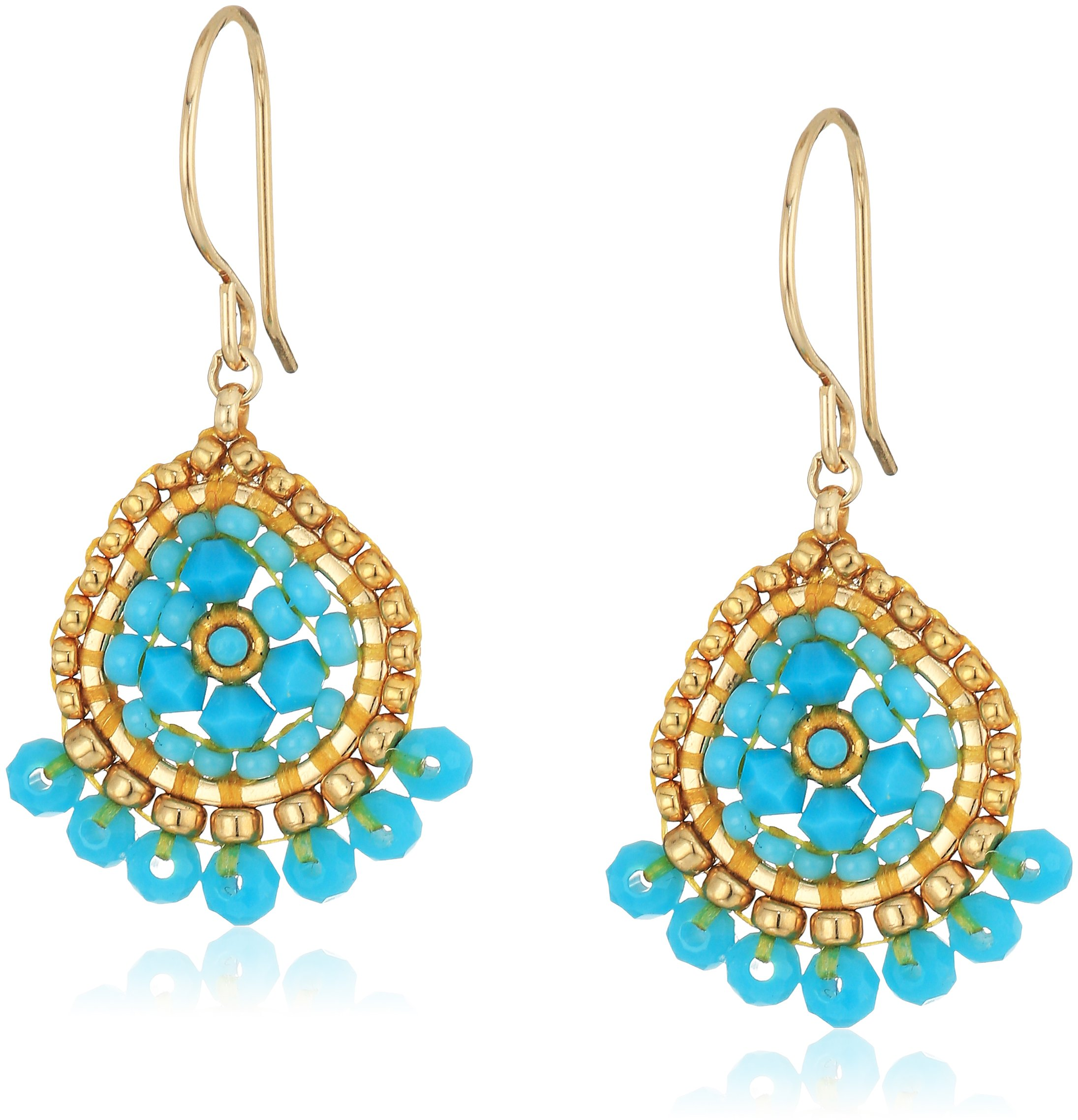 Miguel Ases Mini Teardrop Fringed Rondelle Turquoise Drop Earrings