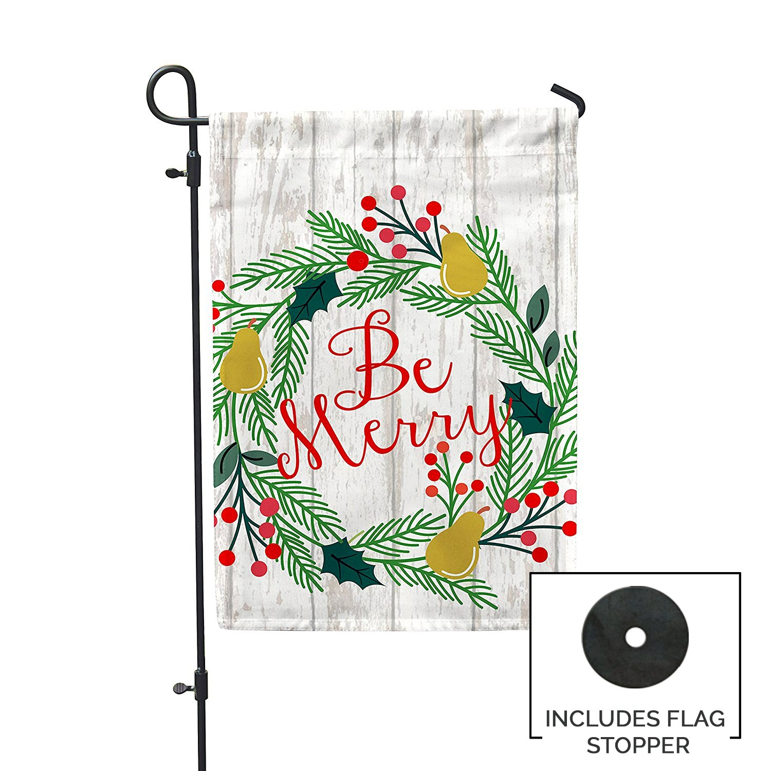 Second East Be Merry Garden Flag Outdoor Patio Seasonal Holiday Fabric 12''X18''