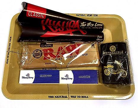 Set RAW de regalo de los años 70 con bandeja de metal para fumador