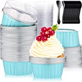 200 Pieces 125 ml Muffin Liners Cups with Lids and Spoons Set, 100 Pieces 5 oz Reusable Aluminum Foil Cupcake Ramekins, 100 P