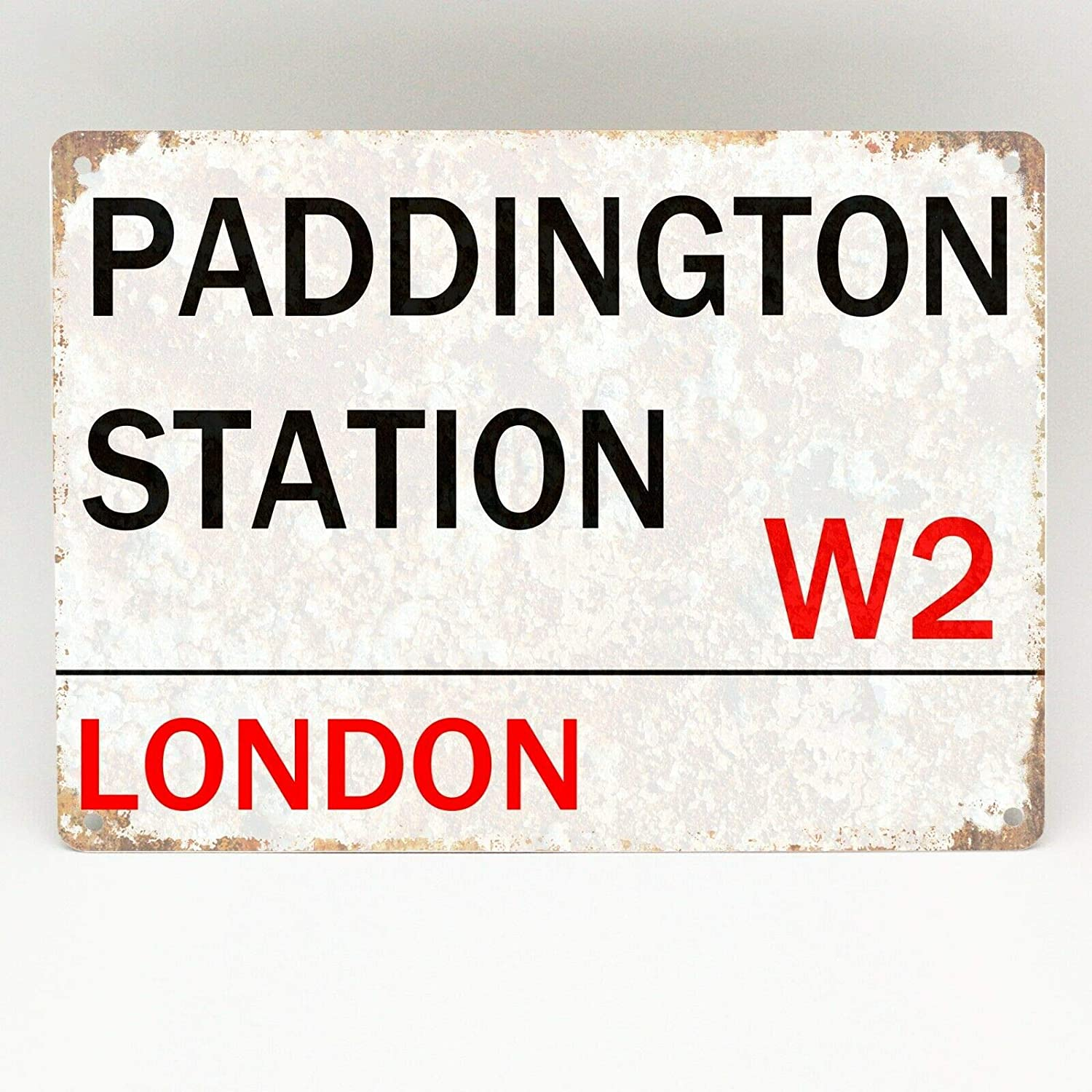 Tnnd Paddington Station Metal Sign London Street Retro Wall Plaque Vintage Metal Plate Plaque Aluminum Metal Sign 8x12 Inches Home Kitchen