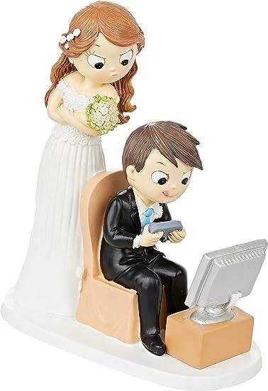 Motiv Braut zieht Br/äutigam am Kragen//Ja oder Ja 19/cm Mopec Y967/Brautpaarfigur f/ür Torte