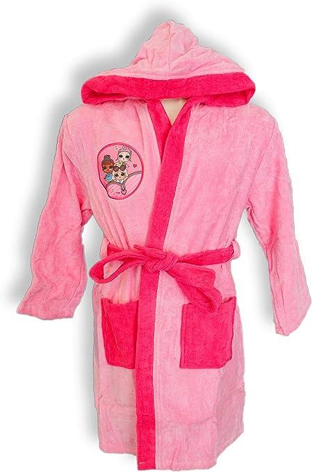 Albornoz con capucha original Lol Surprise años 2 3 4 5 6 7 8 9 100% rizo puro algodón niña anni 4 / 5 Rosa: Amazon.es: Ropa y accesorios
