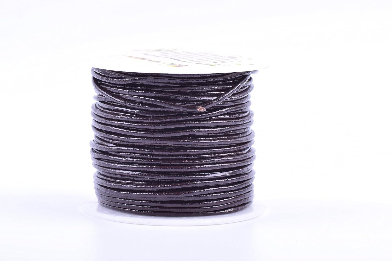 2.0mm, Metallic Dark Grey KONMAY 25 Yards Solid Round 2.0mm Metallic Dark Gray Genuine//Real Leather Cord Braiding String