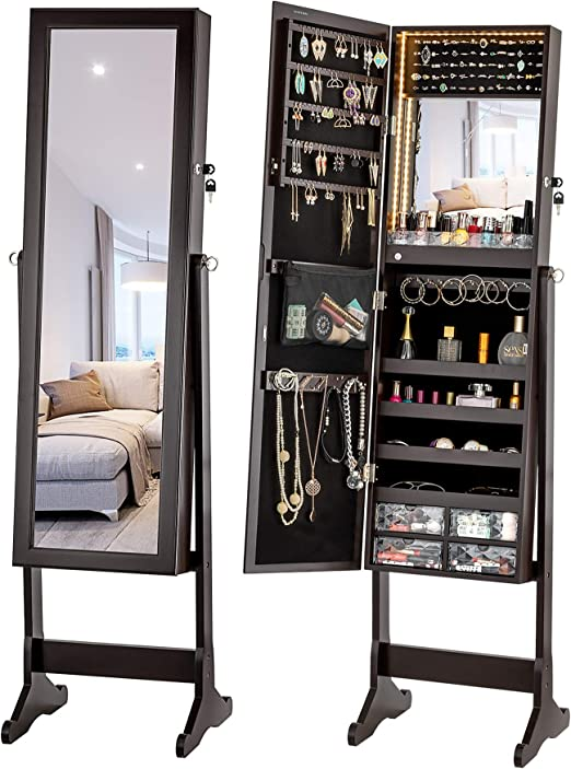 LUXFURNI Armoire à Bijoux à LED avec Miroir verrouillable et Grand  Organiseur de Rangement avec tiroirs