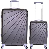 Slimbridge Fusion Set of 2 Super Lightweight 4 Wheels ABS Hard Shell Luggage Suitcase Travel Bags Trolley XL and Cabin Carry On, Graphite