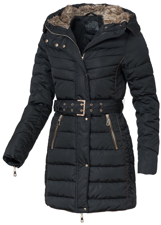 in vogue Damen Wintermantel IV064, warmer Mantel mit Gürtel, Kapuze & Webpelz, schwarz