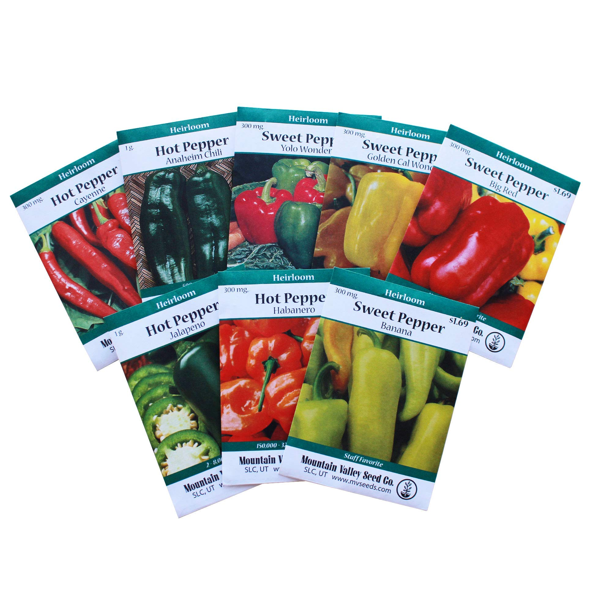 Heirloom Sweet & Hot Pepper Garden Seed Collection - Non-GMO: 8 Varieties - Big Red, Anaheim Chili, Habanero, Jalapeno, Cayenne, More by Mountain Valley Seed Company