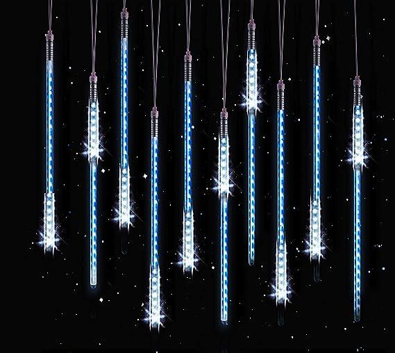 Luci Di Natale Esterno.10 Tubes 50cm Luci Di Pioggia Hqqnuo Luci Led Meteor Impermeabile Luci Di Natale Per Esterni Giardino Alberi Di Natale Blu