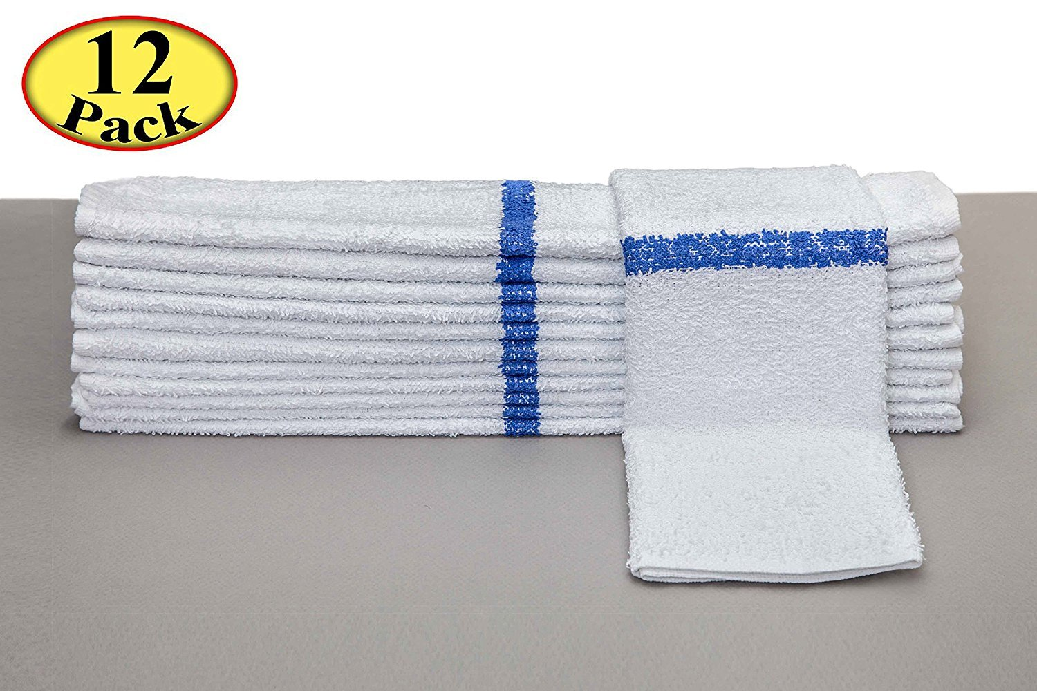 Bar Mop Cleaning Towels (12 Pack, 16 x 19 Inch) – Cotton Terry, White with Blue Stripe by FAM Textile