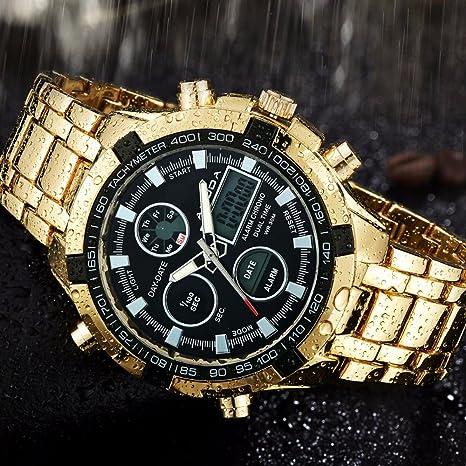 Men Fashion Watches Luxury Brand Gold Golden Watches Men Sports Quartz-watch Dual Time Relogio