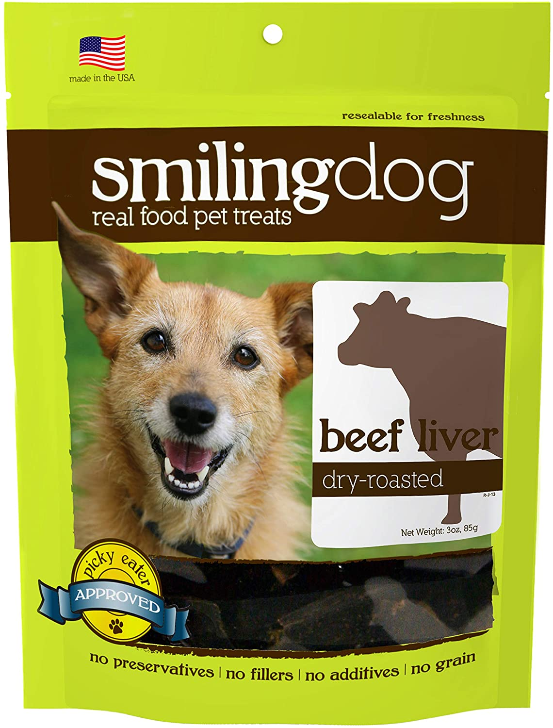 Herbsmith Smiling Dog Treats – Dry Roasted Beef Liver – That's 100% it – 3 Ounce, Single Bag of Treats