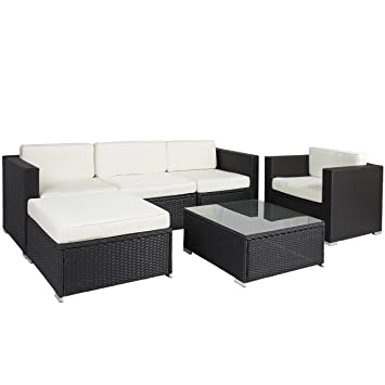 best choice products 6pc outdoor patio garden furniture wicker rattan sofa set sectional black black garden furniture