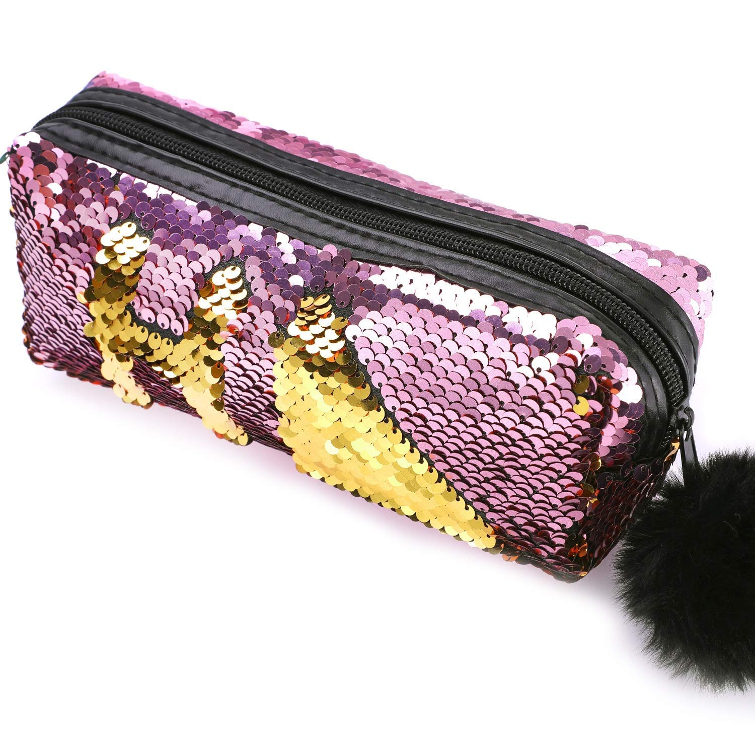 Phogary Glitter Cosmetic Bag Mermaid Spiral Reversible Sequins Portable Double Color Students Pencil Case for Girls Women Handbag Purse Make Up Pouch with Pompon Zip Closure